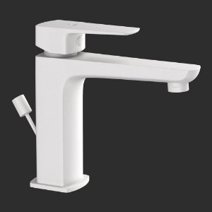 Picture of Single Lever Basin Mixer with Popup Waste -  White Matt