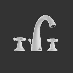 Picture of 3-Hole Basin Mixer with Popup Waste System - White Matt