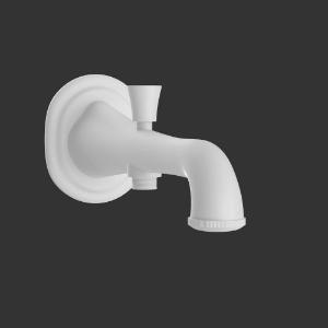 Picture of Bath Tub Spout with Button attachment - White Matt